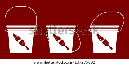 Vector illustration of paint Bucket isolated on Coffee Background - stock vector