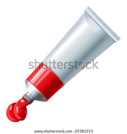 vector illustration of paint tube - stock vector