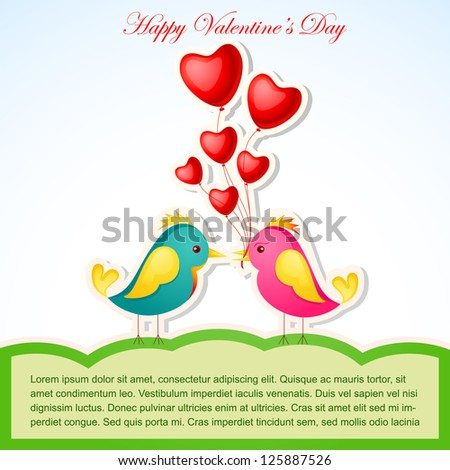 vector illustration of pair of bird with heart against love background - stock vector