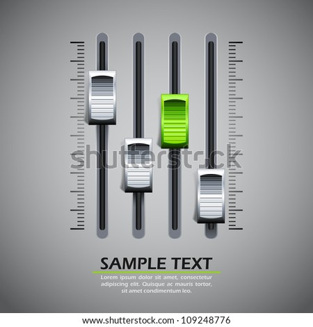 vector illustration of panel of sound mixer console - stock vector