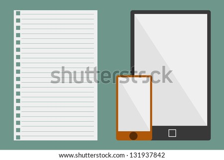 Vector Illustration of paper and tablets - stock vector