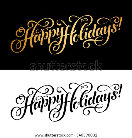 Vector illustration of paper cards with Happy Holidays lettering and ornamental elements. Christmas calligraphy - stock vector
