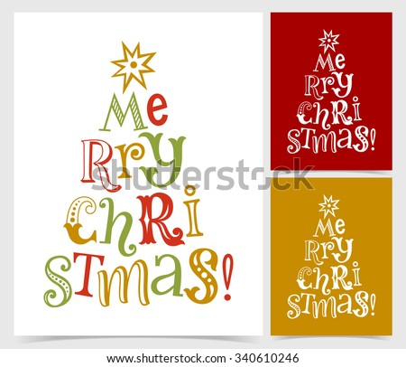 Vector illustration of paper cards with holidays lettering. Merry Christmas text for invitation and greeting card, prints and posters. Hand drawn vintage design - stock vector