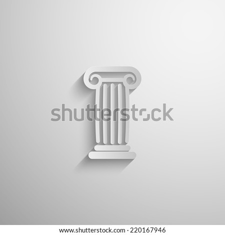 vector illustration of paper 3d ancient column icon with long shadow - stock vector