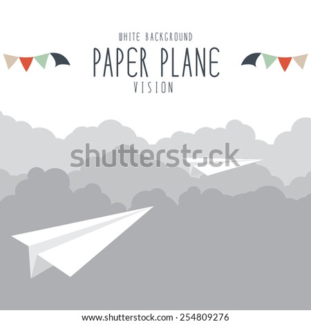 vector illustration of paper plane on cloud. - stock vector