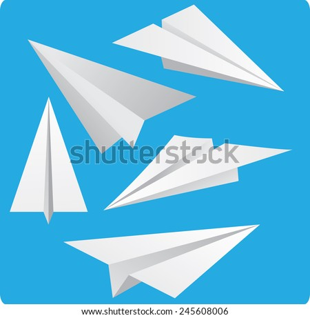 Vector illustration of Paper Planes in cartoon style on blue background - stock vector