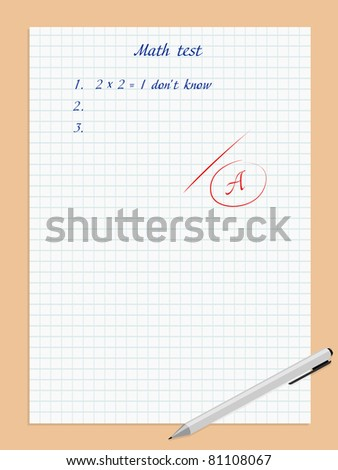 Vector illustration of paper sheet with excellent math test - stock vector