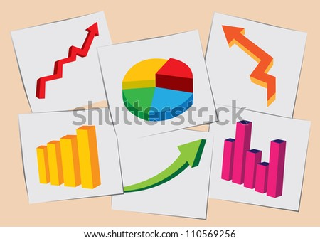 Vector illustration of papers with picture graphics of stock charts on the floor