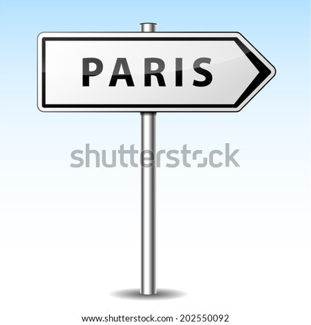 Vector illustration of paris directional sign on sky background