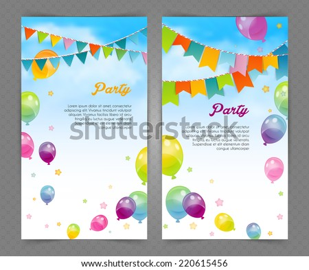 Vector illustration of Party banner with flags and ballons - stock vector