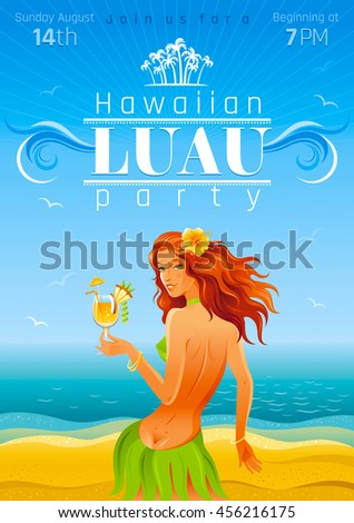 Vector illustration party invitation design hawaiian stock vector vector illustration of party invitation design for hawaiian luau beach party with sand and sea background stopboris Gallery