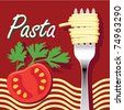 Vector illustration of pasta and tomato - stock vector