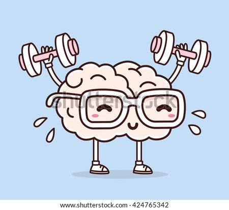 Vector illustration of pastel color smile pink brain with glasses lifts with dumbbells on blue background. Fitness cartoon brain concept. Doodle style. Thin line art flat design of brain for sport - stock vector