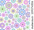 Vector illustration of pastel flowers on white background. - stock vector