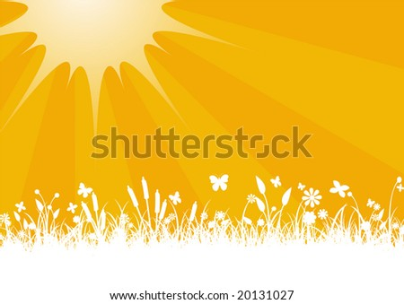 Vector illustration of Peaceful sunset with Silhouette of flowers, grass and   butterfly - stock vector
