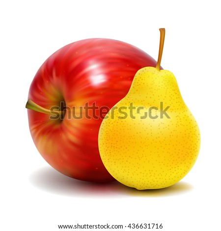 Vector illustration of pear and apple