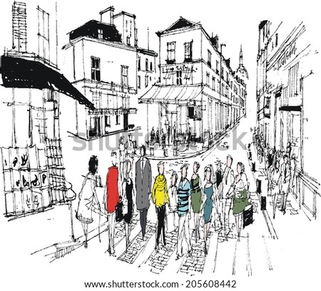 Vector illustration of pedestrians crossing street, Montmartre, Paris France.