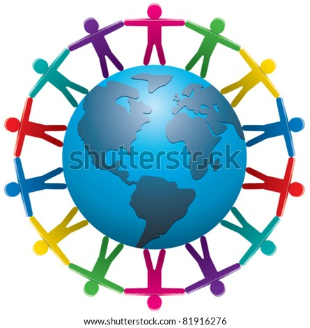 vector illustration of people around the world - stock vector