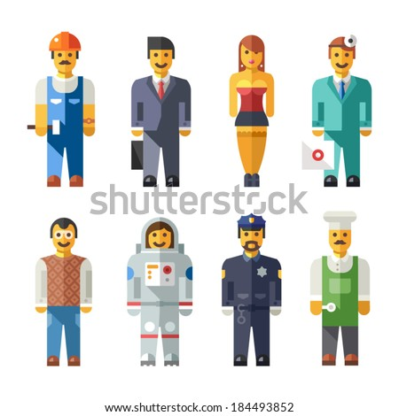 vector illustration of people of different professions: banker, secretary, businessman, doctor, model, chef, engineer, scientist, builder, teacher, police officer, astronaut in flat style - stock vector