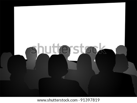 Vector illustration of people watching movie in the theater