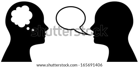 Vector illustration of people who think and talk, symbol or icon of head with thought and speech bubble - stock vector