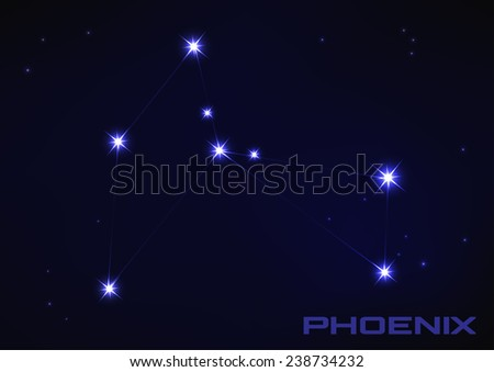 Vector illustration of Phoenix constellation in blue  - stock vector