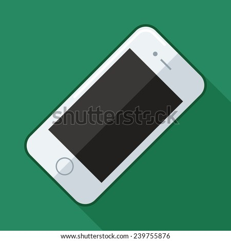 Vector illustration of phone on green background - stock vector