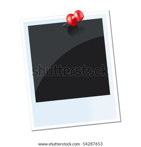 vector illustration of photo with red thumbtack - stock vector