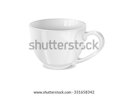 Vector illustration of photorealistic white cup.