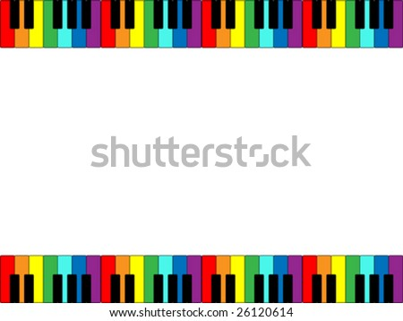 Vector illustration of piano keyboard border in rainbow colors. - stock vector