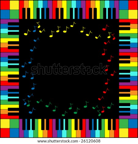 Vector illustration of piano keyboard frame in rainbow colors. - stock vector