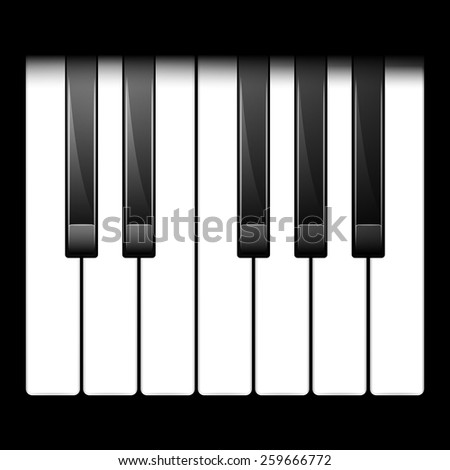 Vector illustration of piano keys. One octave. top view