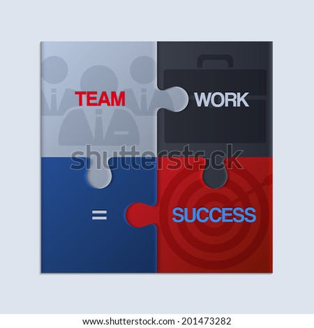 Vector illustration of piece of jigsaw puzzle showing business equation. - stock vector