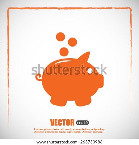 Vector illustration of piggy bank pig  - stock vector