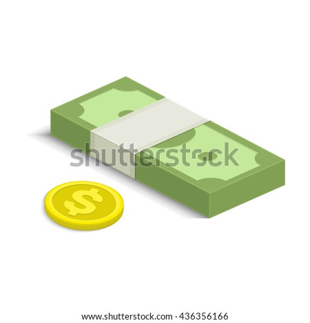 Vector illustration of pile of money. Single flock of cash and coin flat icon, American dollars pack, packet, parcel, batch, package. Modern design isolated on white background. Modern currency icons. - stock vector