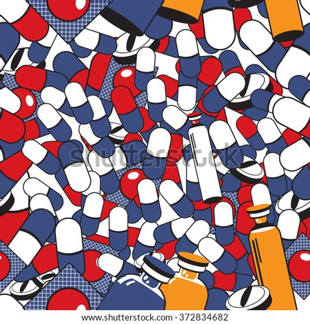 Vector illustration of pills and medicals background in vintage style. - stock vector