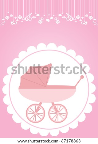 Vector illustration of pink baby carriage for newborn girl - stock vector