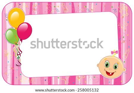 Vector illustration of pink  baby girl frame.  - stock vector
