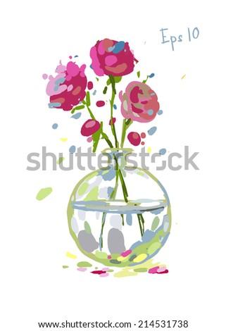 Vector Illustration Pink Flowers Glass Vase Stock Vector Royalty