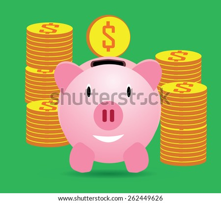 Vector illustration of pink happy funny piggy bank with gold, golden dollar coins isolated on green background. Wealth, richness savings deposit symbol pictogram, retirement pension funds concept icon - stock vector