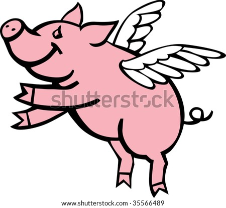 Pig with wings clipart