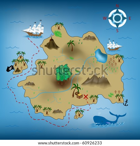 vector illustration of pirate treasure map - stock vector