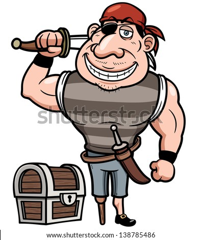 Vector illustration of Pirate with old treasure chest