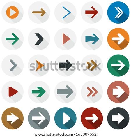 Vector illustration of plain round arrow icons. Flat design.  - stock vector
