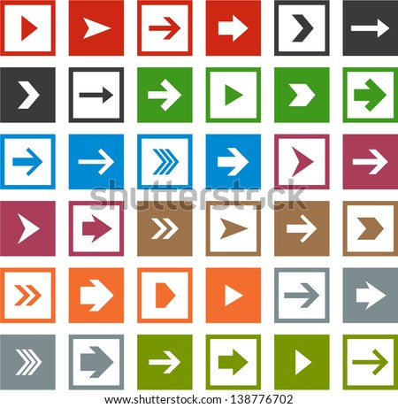 Vector illustration of plain square arrow icons. Eps10. - stock vector