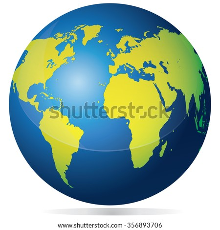 Vector illustration of planet earth globe with blue ocean and green continents isolated on white - stock vector