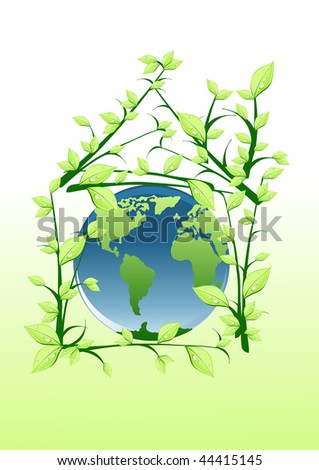 Vector illustration of planet into green house