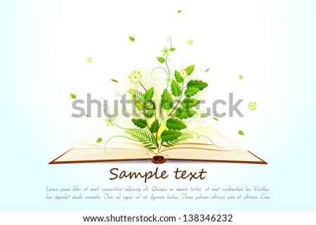 vector illustration of plant growing on open book - stock vector