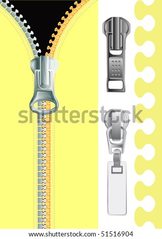 Vector illustration of plastic Zipper - stock vector