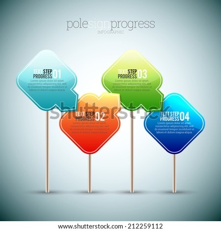 Vector illustration of pole sign progress infographic elements. - stock vector